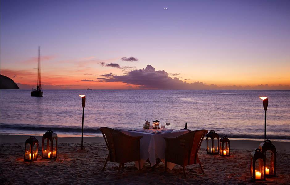 sugar beach caribbean beach dinner sunset