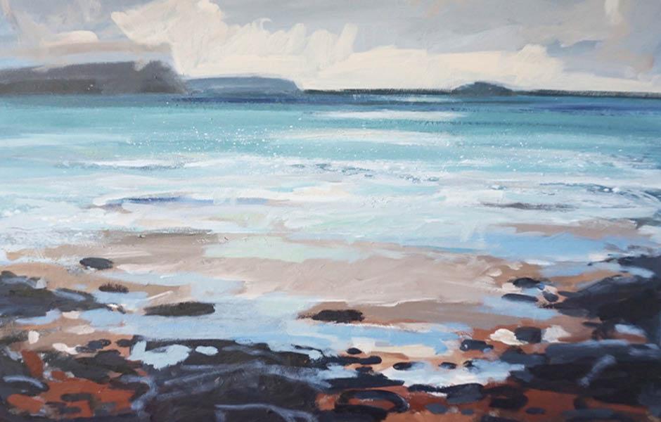 Nina Brooke blue sea canvas painting